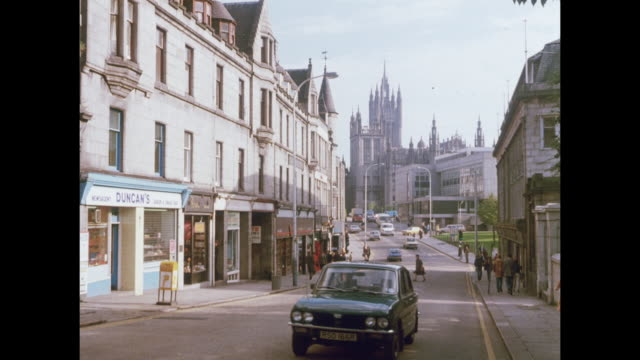 1981 sights of aberdeen, scotland - aberdeen schottland stock-videos und b-roll-filmmaterial