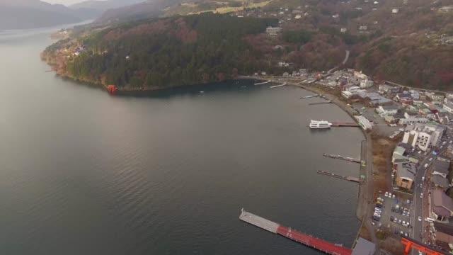 Sight-seeing boat cruising on Lake Ashi, overlooking Mount Fuji and Owakudani Valley in Hakone, Japan