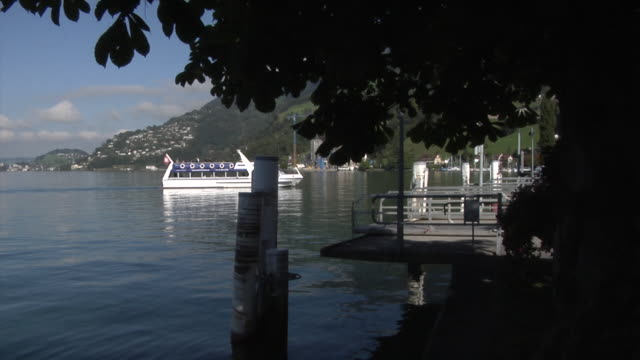 sightseeing boat on lake lucerne - lake lucerne stock videos & royalty-free footage