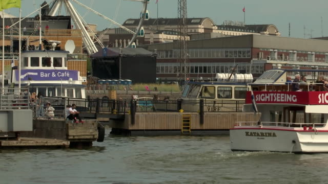 stockvideo's en b-roll-footage met sightseeing ferry in the south harbour of helsinki on july 13, 2018. - music or celebrities or fashion or film industry or film premiere or youth culture or novelty item or vacations