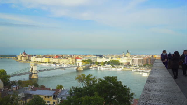 Sightseers Viewing Budapest From The Castle Hill