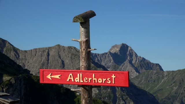 Sign Adlerhorst at the top of Kanzelwand, Kleinwalsertal, Vorarlberg, Austria
