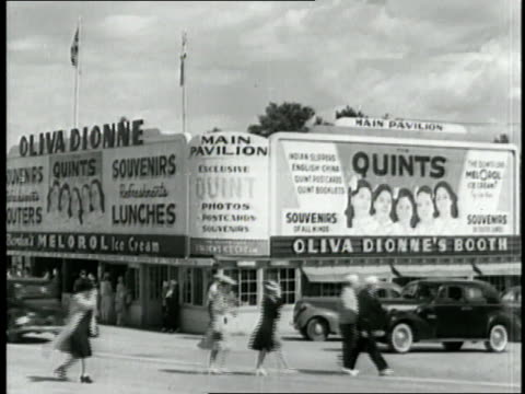 A sign advertises the Dionne Quintuplets