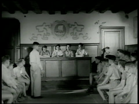 boys' republic of italy sign 'assemblea populare' ws boy in assembly room officers on dais boys voting on 'laws' group of boys sitting in assembly... - human limb stock videos and b-roll footage