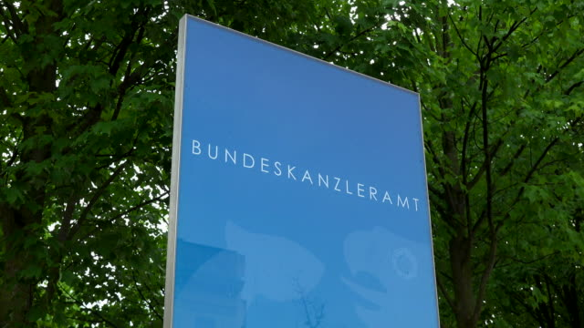 sign at Federal Chancellery Building, Berlin-Mitte, Berlin, Germany