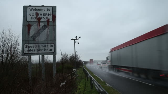 sign at irish border indicating that limits in northern ireland are denominated in miles per hour in belfast northern ireland uk on thursday january... - western script stock videos & royalty-free footage