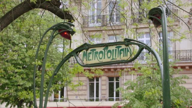 ms sign at the entrance to the paris metro / paris, france - underground rail stock videos & royalty-free footage