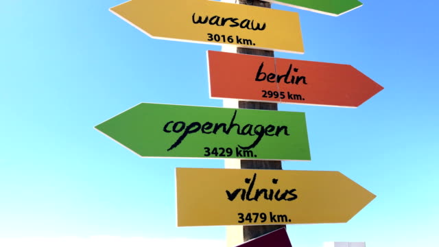 underteckna riktningen för den hela världen - vägmarkering bildbanksvideor och videomaterial från bakom kulisserna