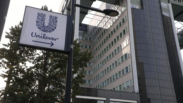 a sign displays the logo for dutch food and cosmetics giant unilever's headquarters on october 19 2020 in rotterdam the netherlands unilever which... - body care stock videos & royalty-free footage