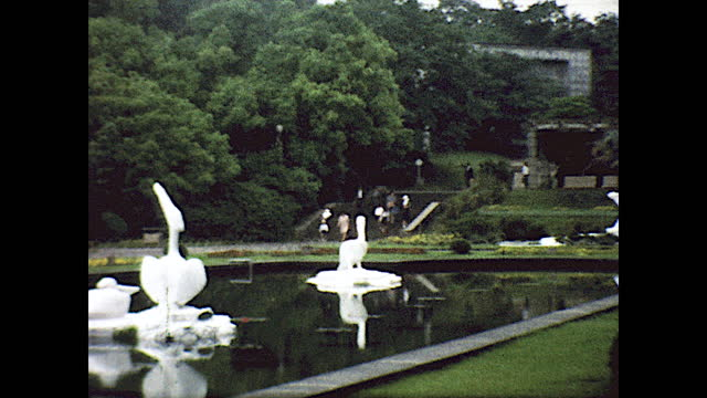 """sign """"entrance""""; panning view of house behind dense vegetation; from a moving cable car; panning view of large pond with white sculptures in the... - railing stock videos & royalty-free footage"""