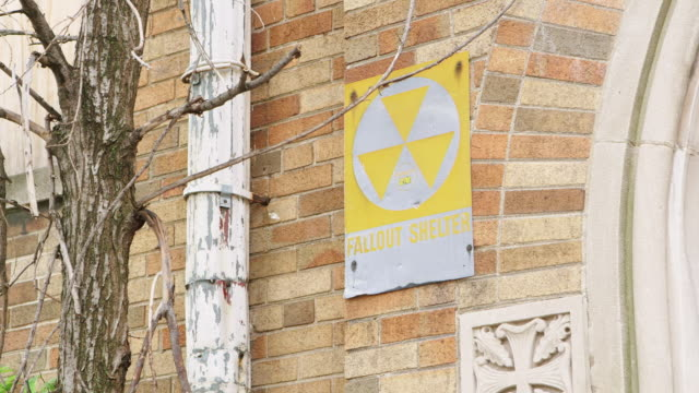 MS Sign 'Fallout Shelter' with radioactive symbol