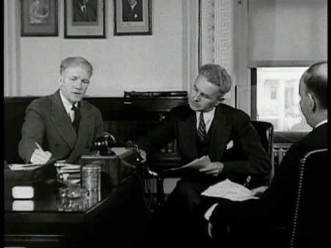 sign 'far eastern affairs' ms officials talking at desk ext ws us ambassador to japan joseph c grew walking tipping hat crowd ext japanese officials... - anno 1938 video stock e b–roll