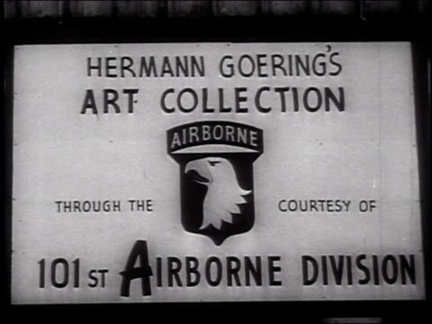 sign for hermann goering's art collection / room filled with stolen artwork hermann goering's art collection on june 04 1946 in germany - hermann goering stock videos & royalty-free footage