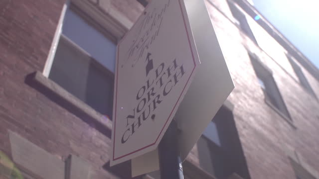 sign for old north church against brick building - spire stock videos & royalty-free footage