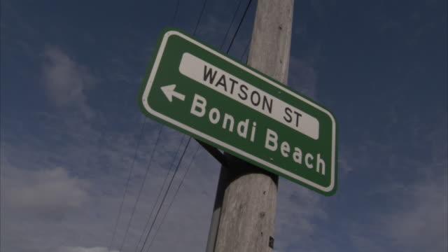 A sign for Watson Street points to Bondi Beach.