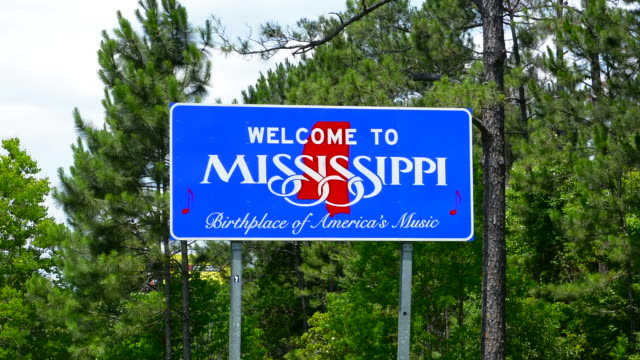 sign for welcome to mississippi birthplace of american music - american culture stock videos & royalty-free footage