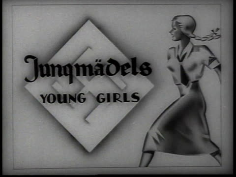 sign for young girls jungmadels / new york, usa - 1938 stock-videos und b-roll-filmmaterial