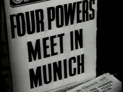 sign 'four powers meet in munich' french prime minister edouard daladier walking w/ german nazi soldiers german soldiers standing holding rifles snap... - 1938 stock videos & royalty-free footage