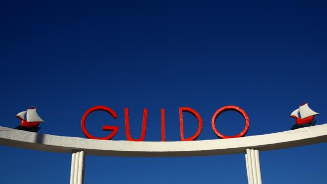 sign Guido at lido in Viareggio, Tuscany, Italy