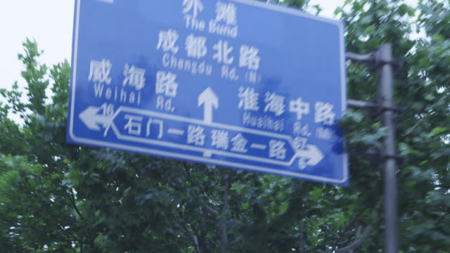 A sign hangs over a road in Shanghai, China.