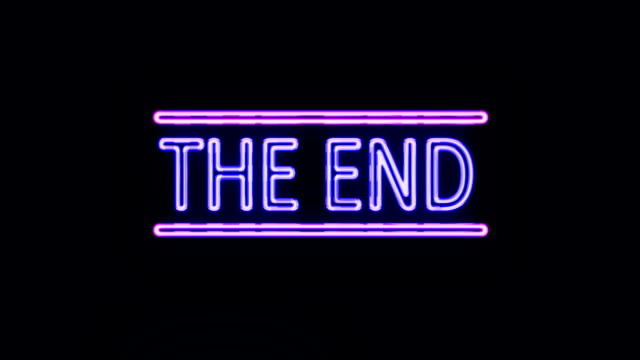THE END Sign in Neon Style Turning On