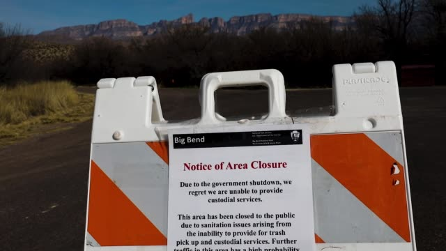 sign informs visitors that an area is closed due to the partial government shutdown on january 17, 2019 in big bend national park, texas. the u.s.... - government shutdown stock videos & royalty-free footage