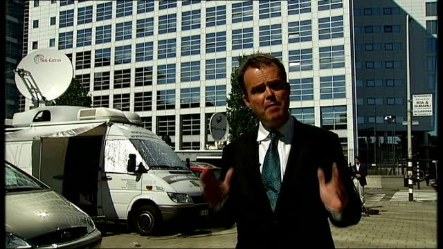 ext sign 'international criminal court reporter to camera - international criminal court stock videos and b-roll footage