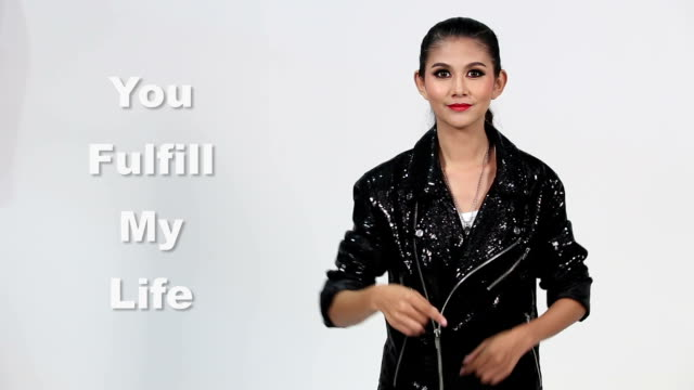 "sign language by asian woman in suit jacket over gray background, mean ""you fulfill my life"" - suit jacket stock videos & royalty-free footage"