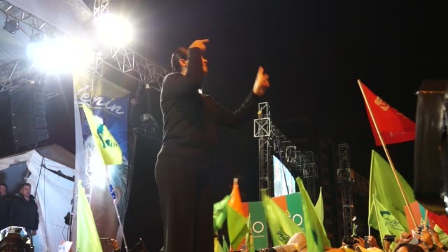 Sign language during celebrations of the election of disabled presidentelect Lenin Moreno in Ecuador