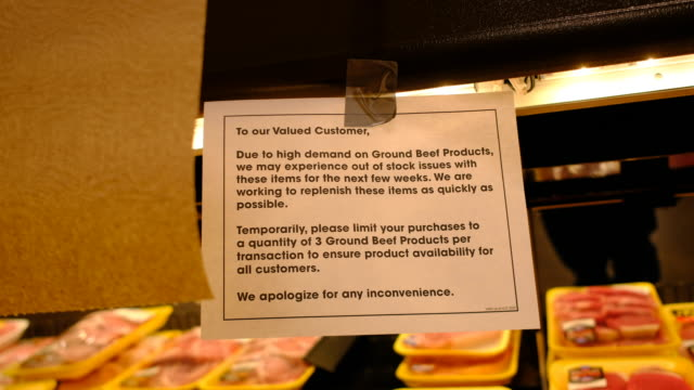 sign limiting meat sales due to shortages at a kroger supermarket during the 2020 coronavirus pandemic - sold out stock videos & royalty-free footage
