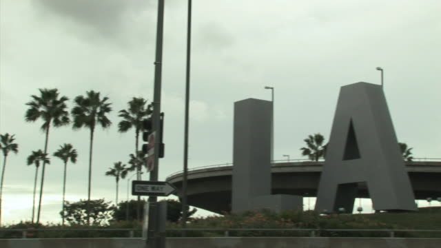ws, pan, lax sign, los angeles, california, usa - fan palm tree stock videos & royalty-free footage