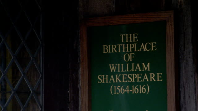 A sign marks the birthplace of William Shakespeare. Available in HD.