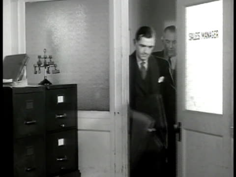 sign metal products co dowd dramatization men talking in office male doesn't know when he can deliver opa price controls keeping them from making... - 1946 stock videos and b-roll footage