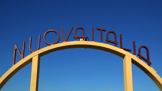 sign Nuovaitalia at lido in Viareggio, Tuscany, Italy