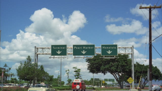 MS POV Sign of pearl harbor at freeway