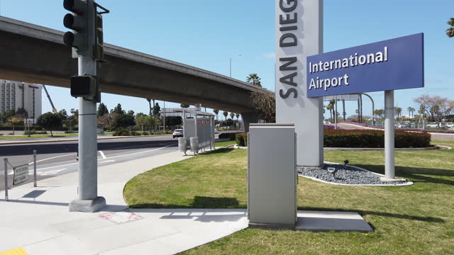 sign of san diego airport - directional sign stock videos & royalty-free footage