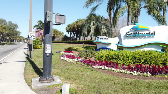 sign of sea world theme park on orlando street - orlando florida stock videos & royalty-free footage
