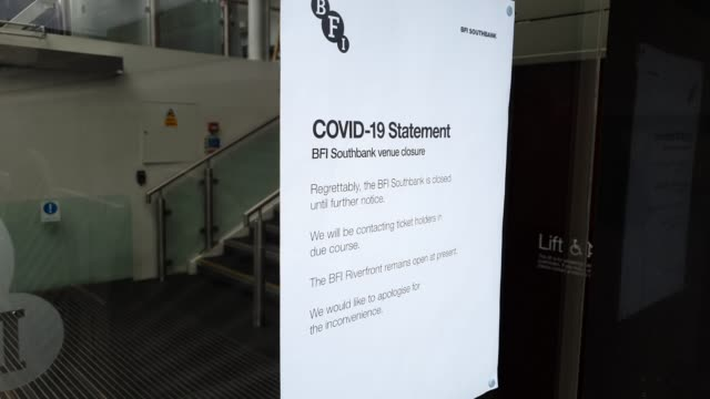 a sign on a window of the bfi southbank displays that its closed during the coronavirus pandemic on march 20 2020 in london england - brian dayle coronavirus stock videos & royalty-free footage