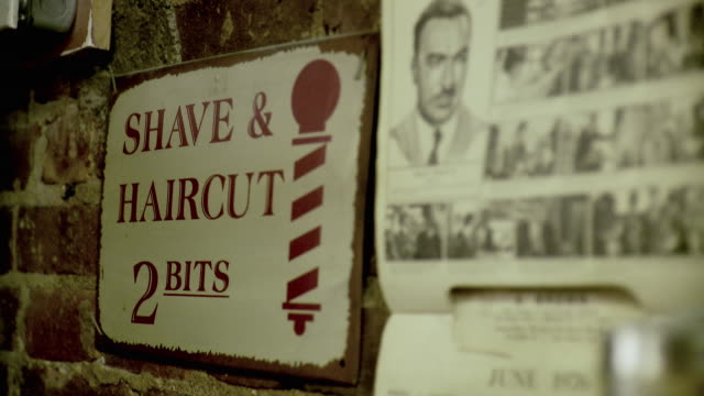 cu r/f sign on barbershop wall, brooklyn, new york city, new york state, usa - barber stock videos & royalty-free footage