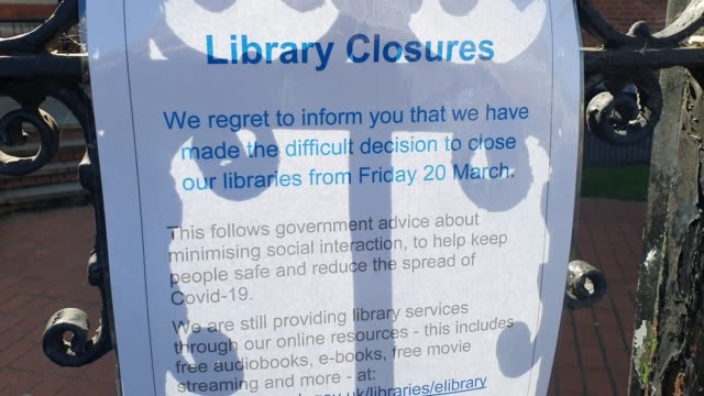 a sign on the gates of dulwich library displays that its closed during the coronavirus pandemic on march 21 2020 in london england - brian dayle coronavirus stock videos & royalty-free footage