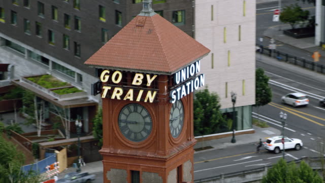 aerial sign on the tower of the portland union station in oregon - portland oregon old town stock videos & royalty-free footage