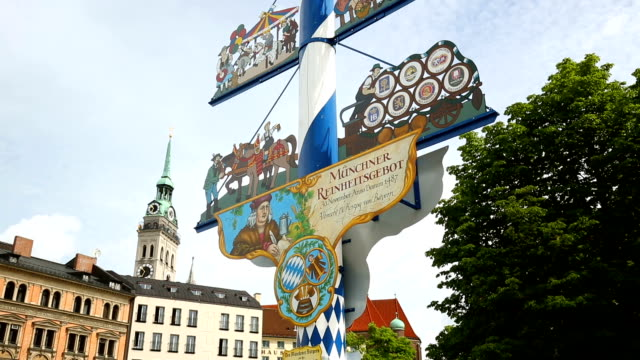sign on the viktualienmarkt in munich, realtime - german culture stock videos and b-roll footage