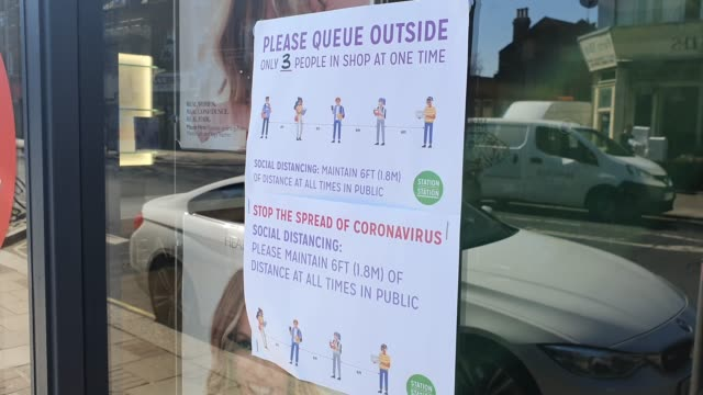 a sign on the window of headmasters in east dulwich explains social distancing during the coronavirus pandemic on march 25 2020 in london england - brian dayle coronavirus stock videos & royalty-free footage