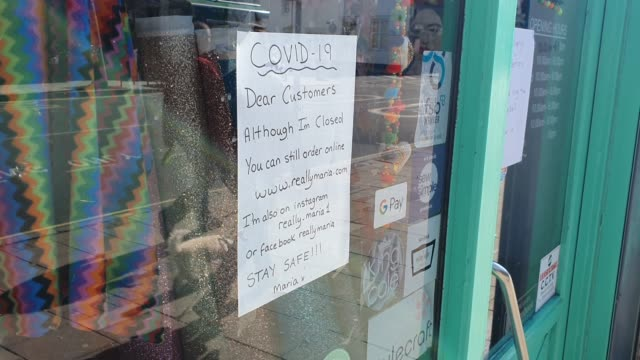 a sign on the window of really maria haberdashery shop displays its still open for online orders during the coronavirus pandemic on march 25 2020 in... - brian dayle coronavirus stock videos & royalty-free footage