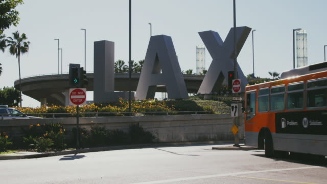 WS LAX sign outside of airport, Los Angeles, California, USA