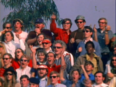 sign outside riverside international raceway petty pearson and the good old boys riverside 400 / crowd standing and cheering and applauding in... - sideburn stock videos and b-roll footage