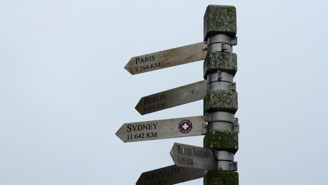 Sign pointing towards cities around the world