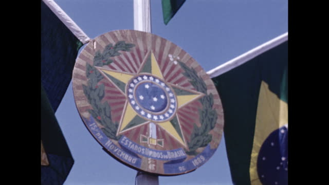 stockvideo's en b-roll-footage met a sign representing brazil with the brazilan flags. - 1940