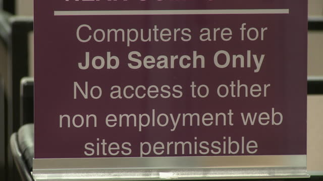 sign restricting computer use at computer lab in job center/ antioch, california, usa/ audio - audio available video stock e b–roll