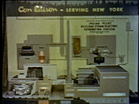 1957 montage sign saying con edison- serving new york, with men in suits walking up and looking at display / new york city, new york, united states - 1957 stock videos & royalty-free footage